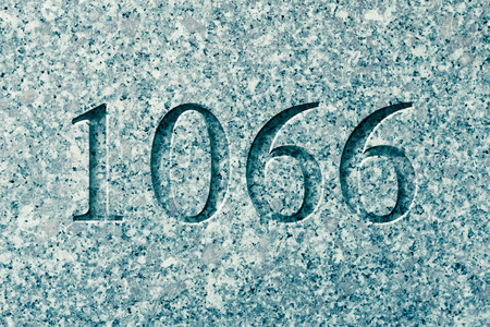 Historical year engraving 1066 on textured old surface
