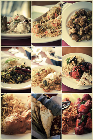 malai: Variety of popular Indian food dishes in collage imagery