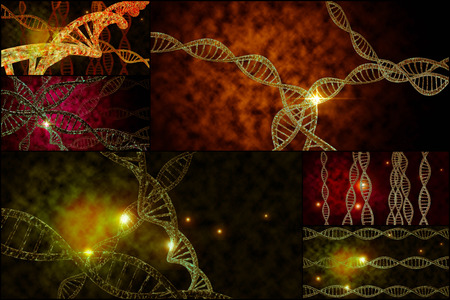 organelles: 3D DNA strand collage with vibrant colors for genetics background