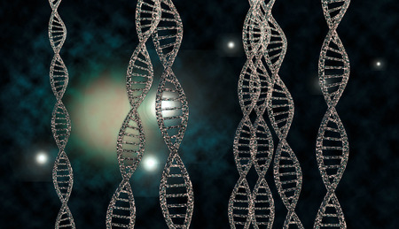 nucleic: 3D DNA strand with vibrant colors for genetics background Stock Photo