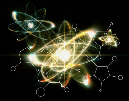 Close up illustration of atomic particle for nuclear energy imagery Stock Photo