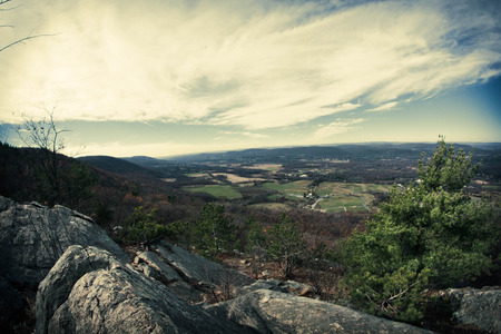 appalachian: View from top of Appalachian Mountains with green pines and autumn maple and oak