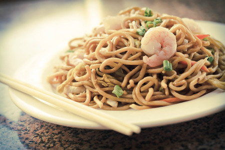 lo mein: Delicious chinese food, shrimp Lo Mein stir fry