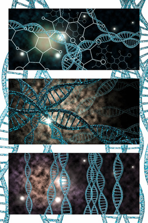 vibrant colors: 3D DNA strand collage with vibrant colors for genetics background