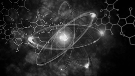 atomic symbol: Close up illustration of atomic particle for nuclear energy imagery Stock Photo