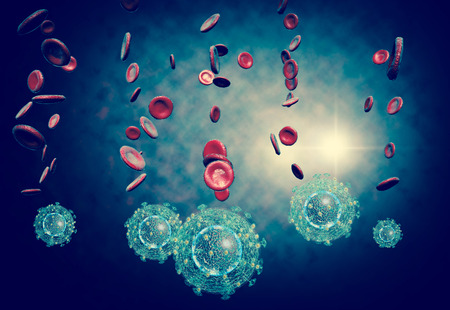 incubation: 3D generated illustration of HIV Aids virus cells for medical science background Stock Photo