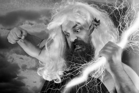 wrath: Angry yelling wrath of god against orange background