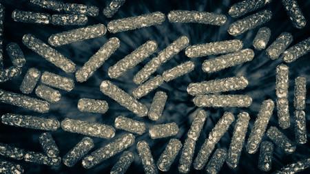 ecoli: Escherichia coli also known as Ecoli bacteria in health science background 3D generated graphic Stock Photo
