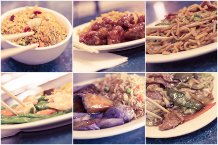 lo mein: Various popular Chinese food take out dishes in collage image Stock Photo