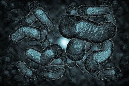 gastro: Close up 3D illustration of microscopic Cholera bacteria infection Stock Photo