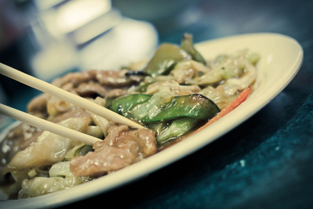 snap bean: Chinese sauteed black bean pork with Asian cabbage Stock Photo