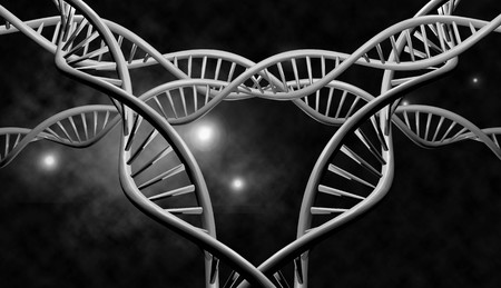 genomes: 3D DNA strand with vibrant colors for genetics background Stock Photo