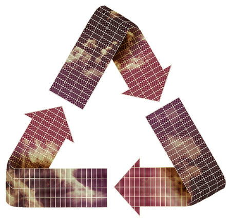 re fuel: Several solar panels shaped to form recycle symbol