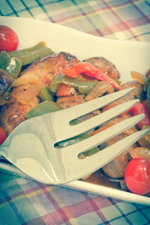 italian sausage: Hot grilled italian sausage with sliced peppers and onions