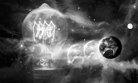 provided: Edison style light bulb and planet earth against beautiful universe, Elements of image provided by NASA