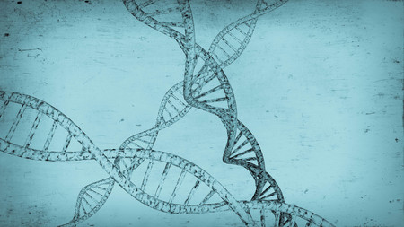 3D DNA strand with vibrant colors for genetics background Stock Photo