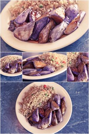 berenjena: Im�genes Collage de berenjena salteada china con salsa de ostras y arroz frito
