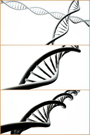 3 D DNA ストランドの遺伝背景の鮮やかな色とコラージュ