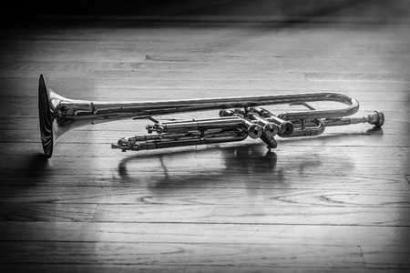 forlorn: Old rusty trumpet lays on wooden floor in the morning light