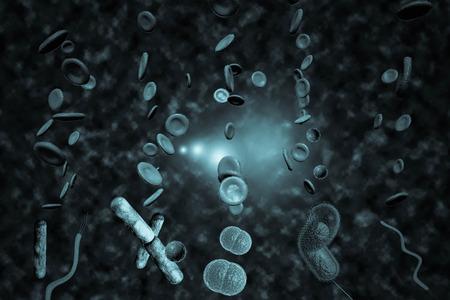 bacterias: Microscopio 3D de cerca de muchas bacterias que circulan en el torrente sangu�neo Foto de archivo