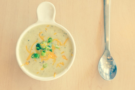 creamed: Steaming hot creamed potato broccoli and cheese soup