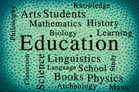 philosophy of music: Education classroom subjects and related words in wordcloud on textured background