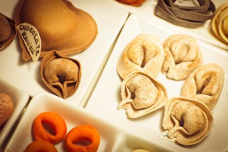 tri  color: Home made Italian Pasta, tortellini fettuccine and ravioli