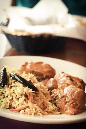 malai: Vegetarian Malai Kofta balls in gravy sauce with tamarind basmati rice