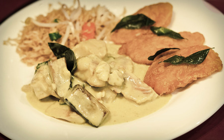 green fish: Green fish curry with side of vegetable pakora and fried rice