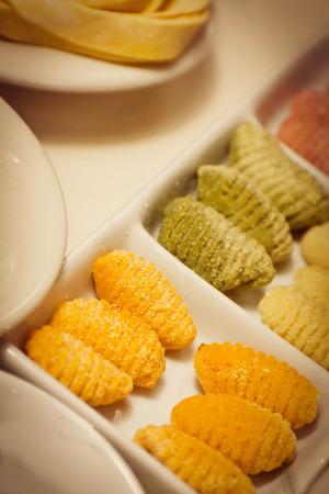 tri  color: Home made Italian Pasta, uncooked tri color Gnocchi