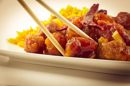 takeout: hot and spicy General Tsos Chicken chinese food takeout