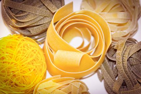 tri  color: Home made Italian Pasta, fettuccine spaghetti and Pappardelle