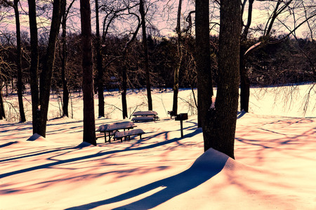outdoor fireplace: Bright sunny day illuminates the frozen lake at this lonely park
