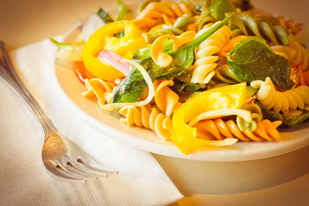 tri  color: Delightful and vibrant tricolor pasta salad with healthy vegetables