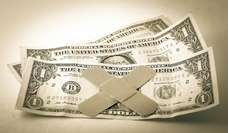 financial cliff: Dollar bills  Stock Photo