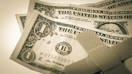 fiscal cliff: Dollar bills  Stock Photo