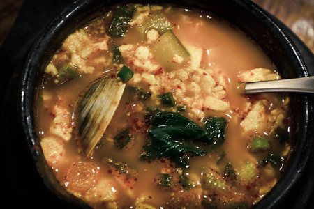 seafood soup: Authentic Korean Seafood Soup with soft tofu, hae-mul soondooboo Stock Photo