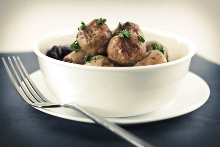 egg noodles: Swedish meatballs in creamy gravy with curly egg noodles and grape jelly