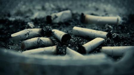 ash: Cigarette butts in ash tray.