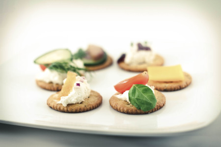 lochs: Assorted canopes, appetizer crackers with toppings Stock Photo