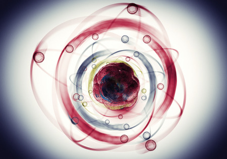 neutrons: Close up illustration of atomic particle for nuclear energy imagery Stock Photo