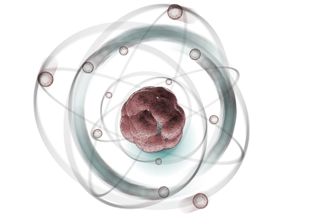 Close up illustration of atomic particle for nuclear energy imagery Stok Fotoğraf