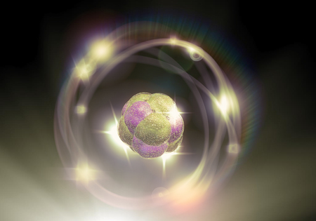 quarks: Close up illustration of atomic particle for nuclear energy imagery Stock Photo