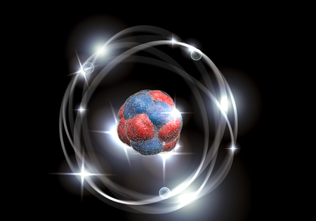 fission: Close up illustration of atomic particle for nuclear energy imagery Stock Photo