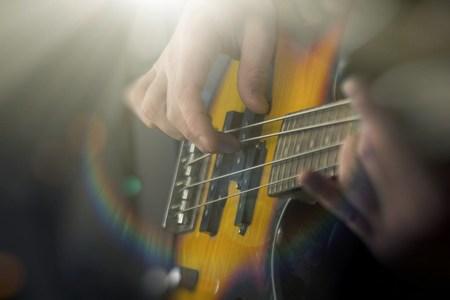 bass guitar: Closeup male musician playing electric bass guitar