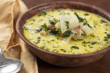 Sausage and kale zuppa toscana italian creamy soup Stock Photo