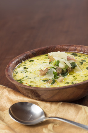 tuscana: Sausage and kale zuppa toscana italian creamy soup Stock Photo