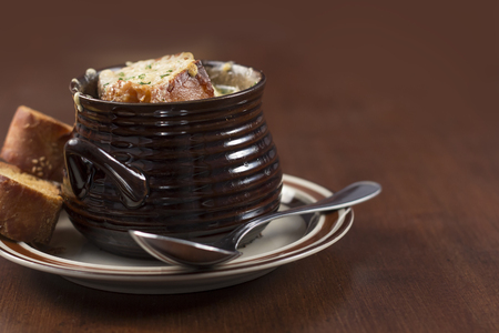 well made: French onion soup with crispy gruyere cheese baked to perfection