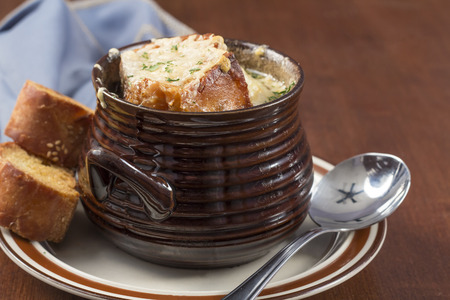 gruyere: French onion soup with crispy gruyere cheese baked to perfection