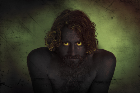 vile: Demon monster man with beard and frightening eyes
